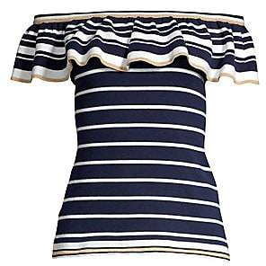 Lilly Pulitzer Women's Perelle Striped Off-The-Shoulder Ruffle Sweater