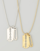 McQ by Alexander McQueen Razor Pendant Necklace, Silvertone