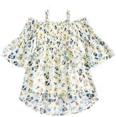 Beautees Floral-Print Smocked Top, Big Girls