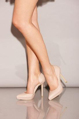 Little Mistress Footwear Nude Patent Open Side Court Shoes