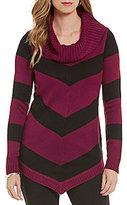 I.N. Studio Cowl Neck Stripe Ombre Tunic Sweater