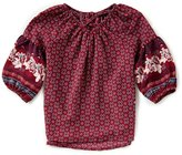 Takara Little Girls 4-6X Long-Sleeve Border Print Woven Top