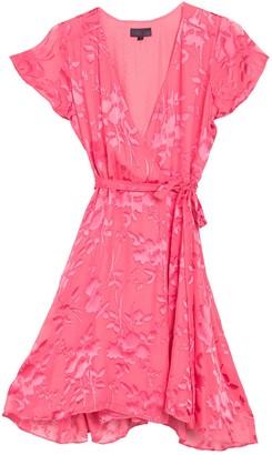 Hale Bob Silk Blend Burnout Wrap Dress