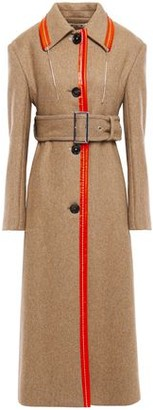 Marni Faux Leather-trimmed Brushed Wool-blend Coat