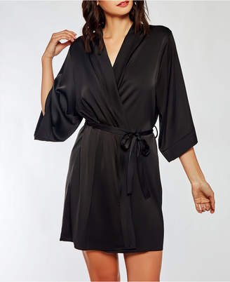iCollection Dressy Satin Spandex Robe with Lace Cut Out Back Panel