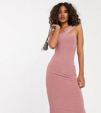 Club L London Tall midi bodycon dress with hardware back detail in pink