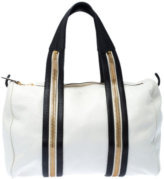 Tom Ford White/Dark Brown Leather Boston Bag