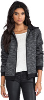 Alexander Wang French Terry Zip Up Hoodie With Nylon Trim