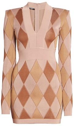 Balmain Diamond Jacquard V-Neck Mini Dress