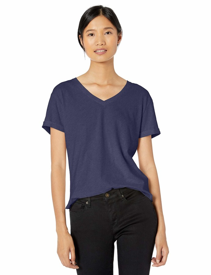 Goodthreads Washed Jersey Cotton Roll-Sleeve V-Neck T-Shirt Femme Marque