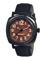 Breed Mozart Brown Dial Black Ion-plated Steel Black Leather Men's Watch