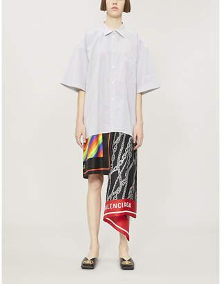 Balenciaga Scarf-detail striped cotton and silk shirt dress