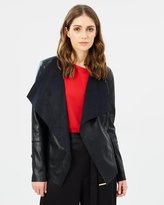 Oasis Faux Leather Waterfall Jacket