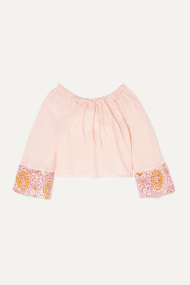 Hannah Artwear - Chai Floral-print Linen Top - Blush