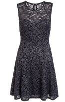 Quiz Grey Glitter Lace Sweetheart Neck Skater Dress