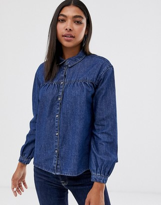 Only denim shirt with western detail-Blue