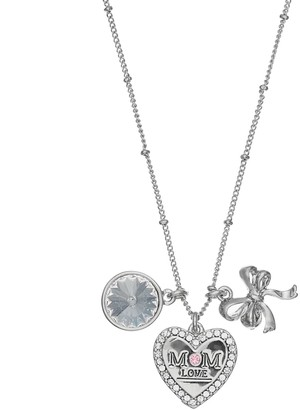 """Charming Inspirations """"Mom Love"""" Heart & Bow Charm Necklace"""