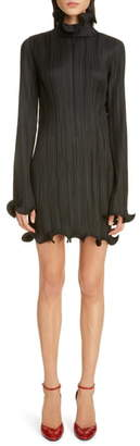 Givenchy Ruffle Trim Long Sleeve Plisse Minidress