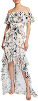 Badgley Mischka Floral Print Off-the-Shoulder High-Low Ruffle Gown