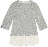 Arizona Crew Neck 3/4 Crochet Hem Hacci Top Sleeve Blouse - Girls' 7-16 and Plus