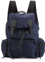 Burberry Large Technical Nylon & Leather Rucksack, Navy