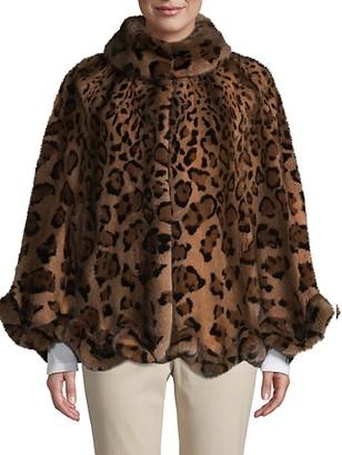 Wolfie Fur Made For Generation Leopard-Print Dyed Mink Fur Cape