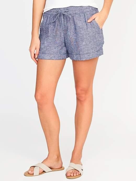 Old Navy Mid-Rise Linen-Blend Pull-On Shorts For Women