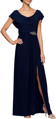 Alex Evenings Cowl Neck Beaded Waist Gown