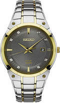 Seiko Mens Two Tone Stainless Steel Bracelet Watch-Sne430, One Size , No Color Family