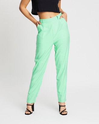 Missguided Women's Green Tapered pants - Co-Ord Cigarette Trousers - Size 8 at The Iconic