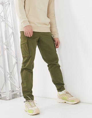 Selected cargo pants with cuffed hem in khaki
