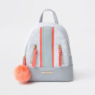 River Island Girls Grey spliced pom backpack