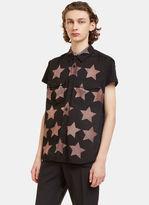 Saint Laurent Men's Star Print Sleeveless Shirt In Black