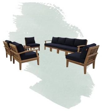 Anthony Logistics For Men Outdoor Patio 8 Piece Teak Sectional Seating Group with Cushion Foundstone Cushion Color: Navy