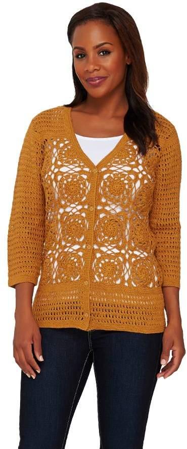 Liz Claiborne New York Hand Crochet V-Neck Cardigan