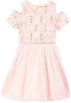 Speechless Blush Sequin Cold-Shoulder Dress - Girls