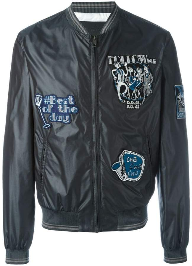 Dolce & Gabbana musical patch bomber jacket