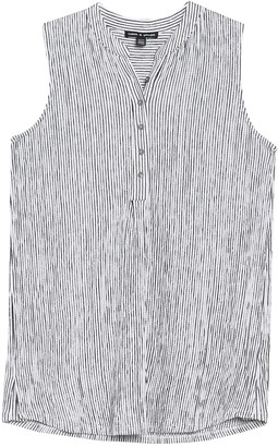 Cable & Gauge Pleat Front Button Henley Tank Top