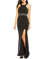 Jodi Kristopher Illusion Banded Waist Long Dress