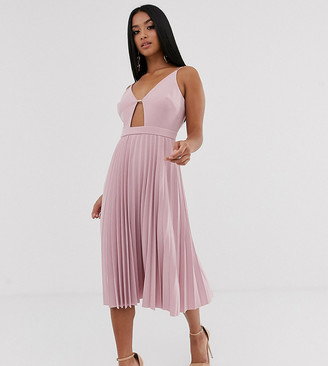 Asos DESIGN Petite minimal pleated midi dress with gold bar
