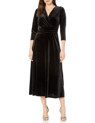 Chaus Women's 3/4 Sleeve Velvet Wrap Dress