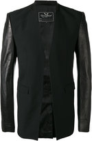 Unconditional leather sleeve cutaway jacket - men - Lamb Skin/Polyester/Viscose/Wool - L