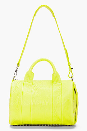 Alexander Wang Acid Green dumbo Leather Rocco Studded Duffle Bag