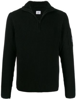 C.P. Company ribbed knit zipped sweater