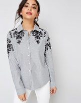 Forever New Girls On Film Embroidered Shoulder Stripe Shirt