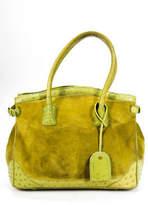 Cece Cord Green Suede Ostrich Trim Tote Satchel Handbag