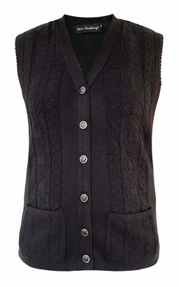 Sians Fashions Women Ladies Elegant Sleeveless Button Knitted Winter Sweater Cardigan V Neck Waistcoat Tank Top Vest with 2 Front Pockets Sizes S-XL (Small (UK 12-14)