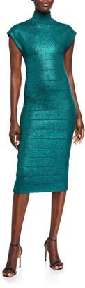 Herve Leger Shimmered Bandage-Knit Mock-Neck Bodycon Dress