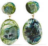 Dinosaur Designs Gold-tone Resin Earrings - Green