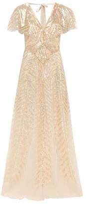 Temperley London Dusk V-neck Sequinned-tulle Gown - Womens - Gold